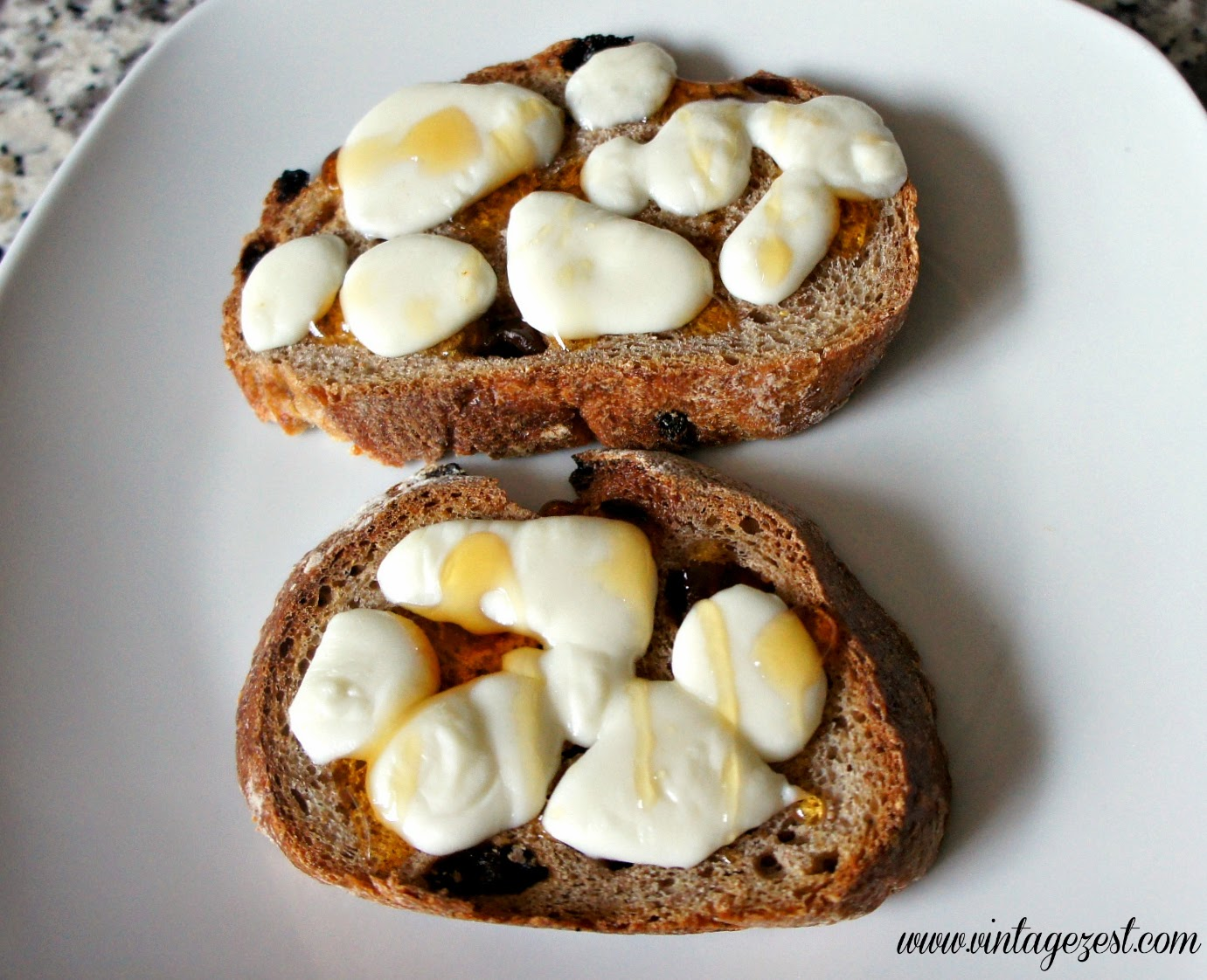 Raisin Bread Toasts with Braided String Cheese & Honey on Diane's Vintage Zest!