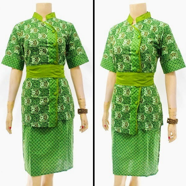 DB3816 Model Baju Dress Batik Modern Terbaru 2014