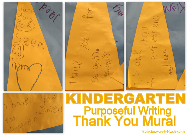 photo of: Handwritten Thank You Mural from Kindergarten