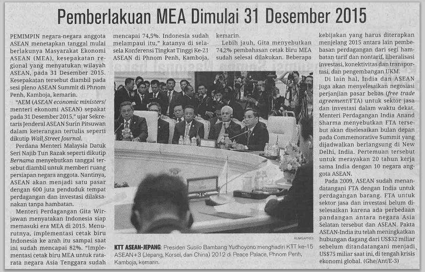 MEA 2015 Mulai Berlaku pada 31 Desember 2014