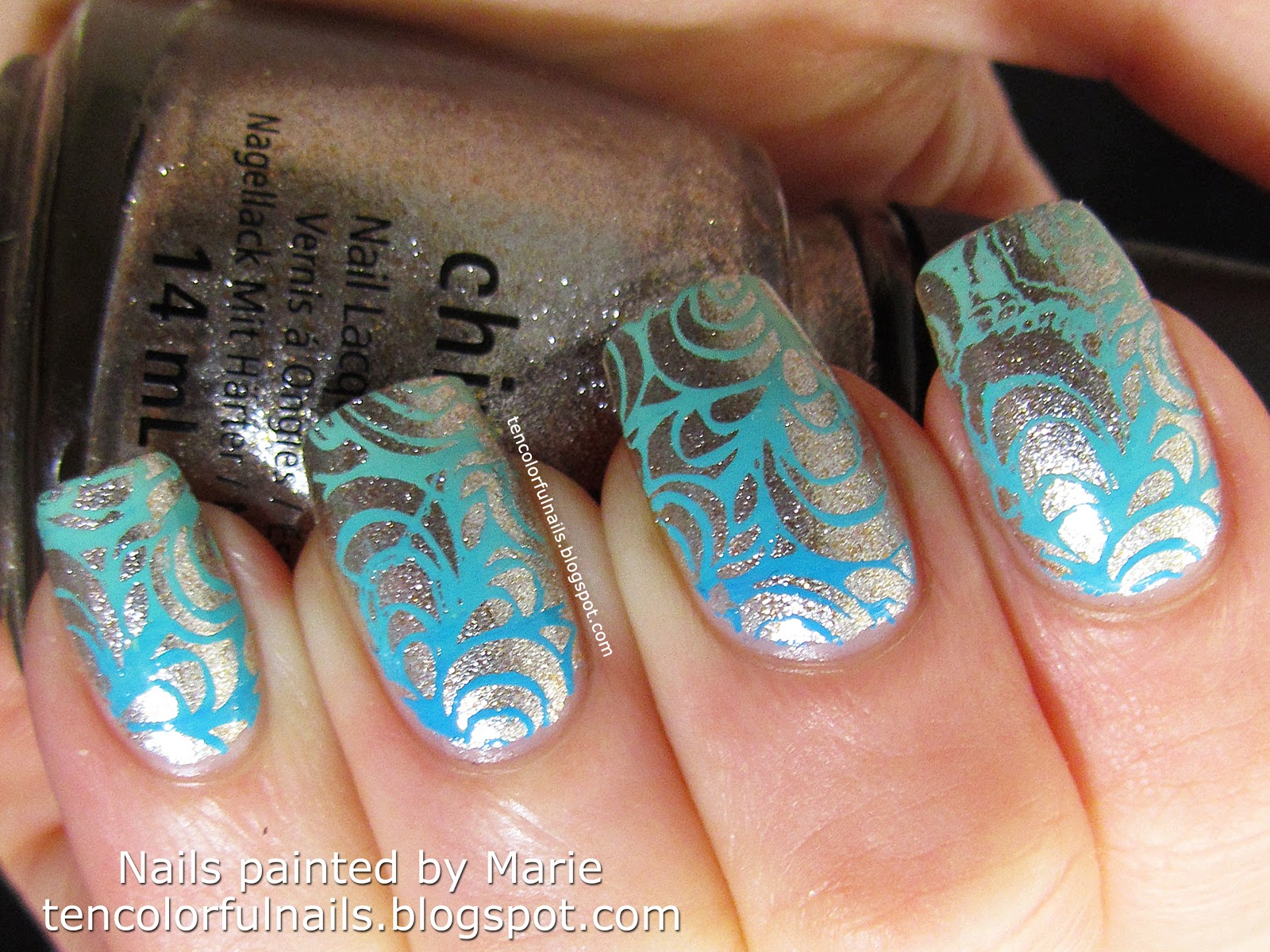Ten Colorful Nails: Gradient Turquoise Stamped Nail Art + Tutorial