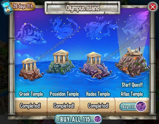 imagen del cuarto segmento de la isla olympus de dragon city
