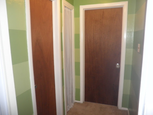 DIY painted stripes green hallway  Just Peachy, Darling