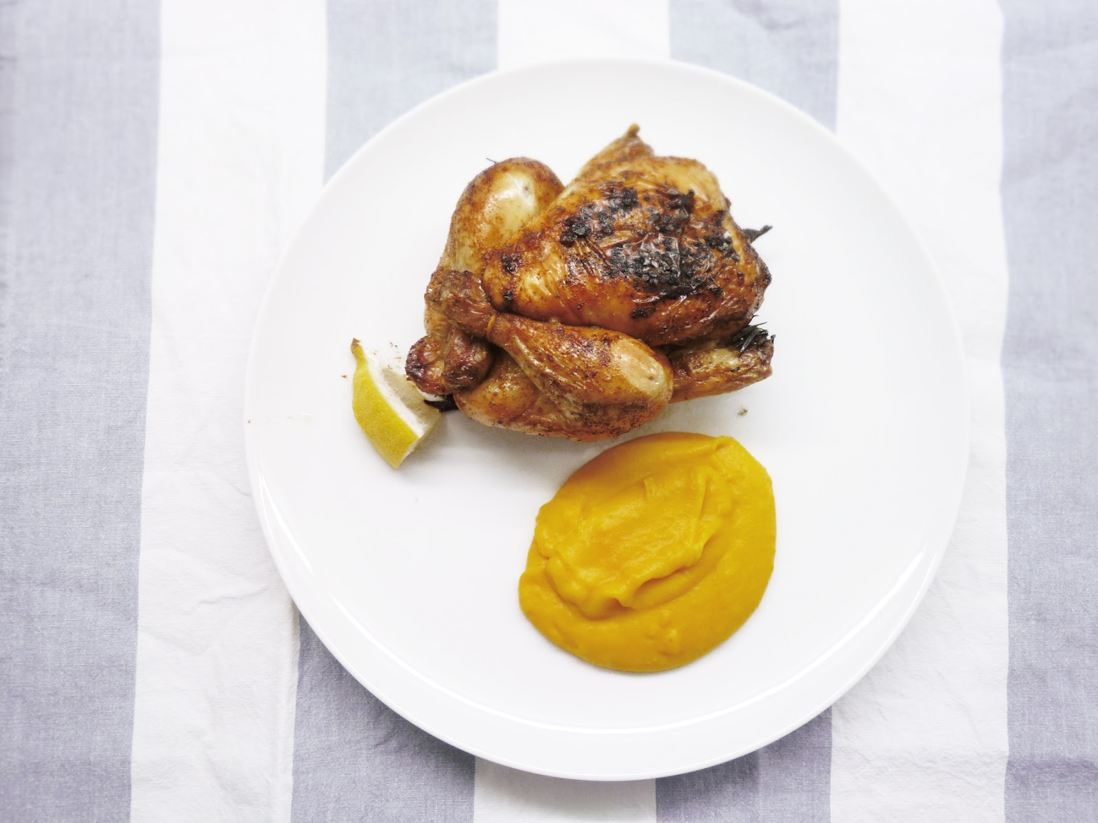 roasted master cleanse chicken with pumpkin mash – fork and flower