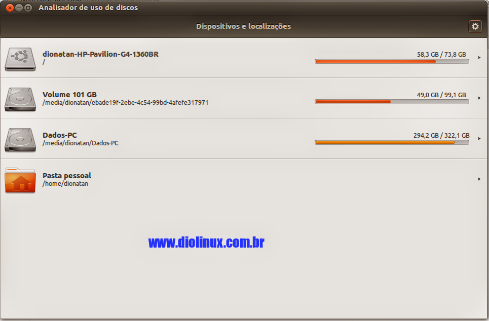 Analisador de uso de Discos do Ubuntu