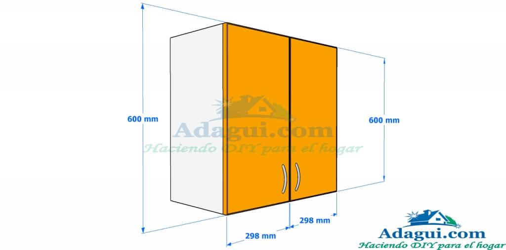 Plano y dise o con medidas mueble alto de cocina melamina for Hacer plano cocina