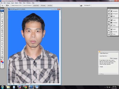 Cara Merubah Background Pas Foto dengan Adobe Photoshop CS3
