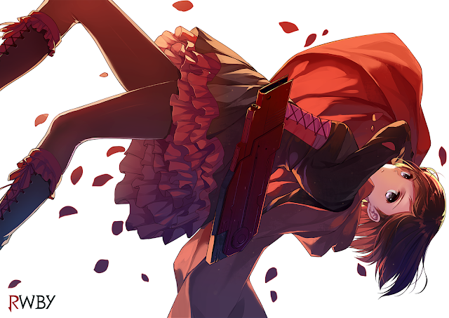 Ruby Rose RWBY Petals Red Cape Girl Female Anime HD Wallpaper Desktop PC Background 2126