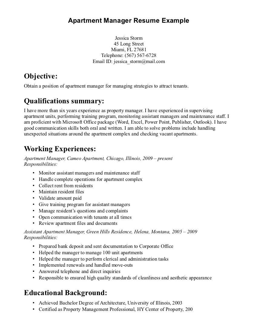 apartment manager resume sample - Property Manager Resume Example