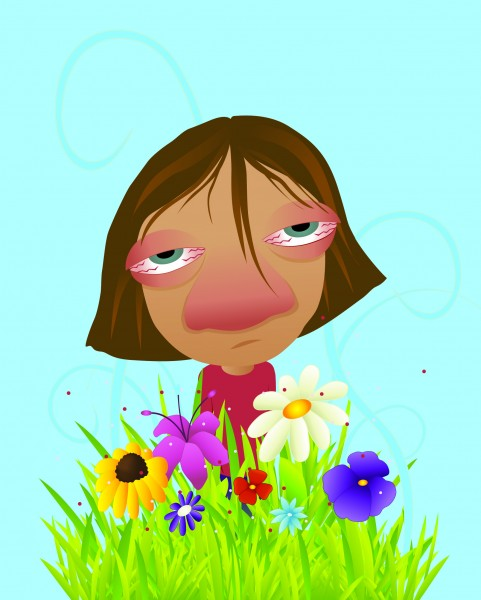 graphic image of person with allergies