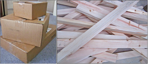the arrival of art and framing supplies is exciting the boxes are from the art store and the lumber is from home depot i have been experimenting with