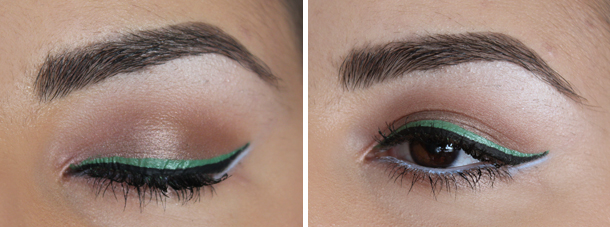 cyzone green liquid eyeliner pistachio mint green periwinkle blue colorful makeup look