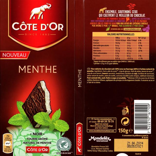 tablette de chocolat noir fourré côte d'or menthe