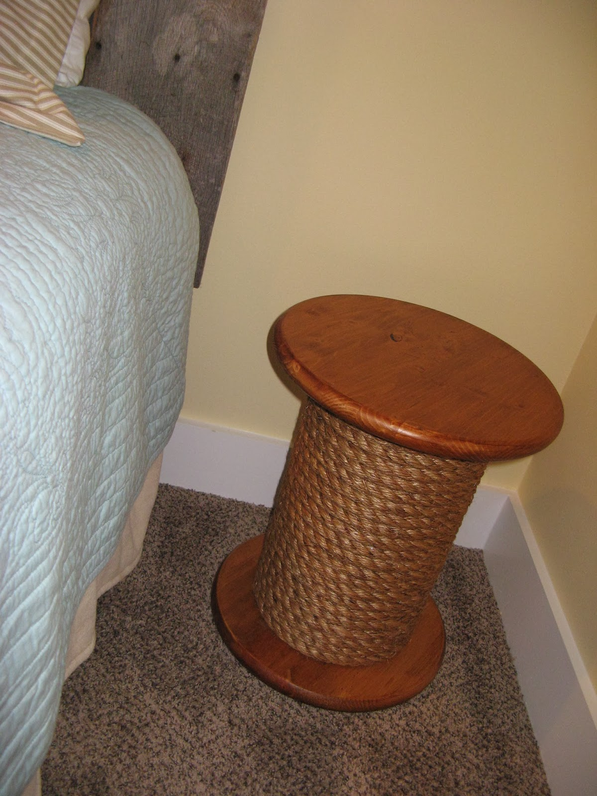 DIY Spool Table - finished product in bedroom