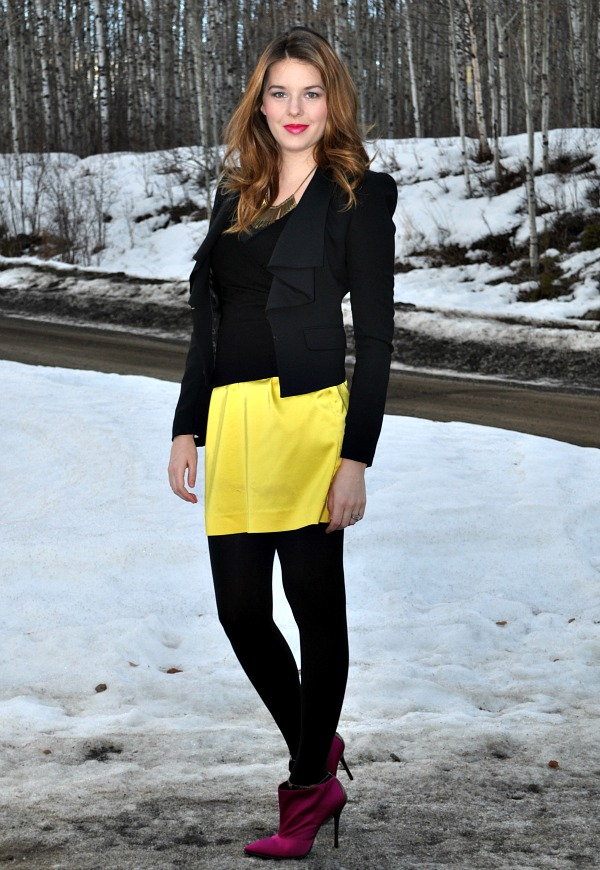Outfit with Yellow Mini Skirt