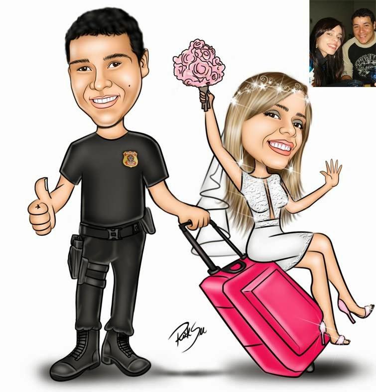 noiva sentada na mala e noivo policial federal