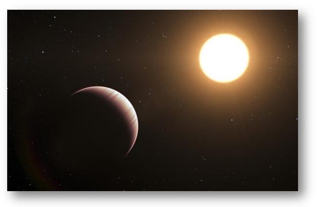 Representação de Tau Boötis b, um dos primeiros exoplanetas detectados.