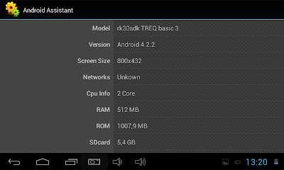 Screenshoot spesifikasi TREQ Basic3 Dual Core Tablet Android Jelly Bean