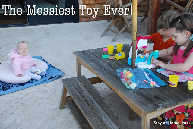 play doh ice cream maker outside on a deck