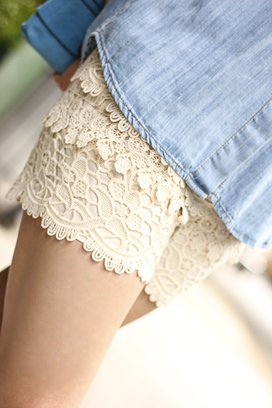 White Lace Shorts