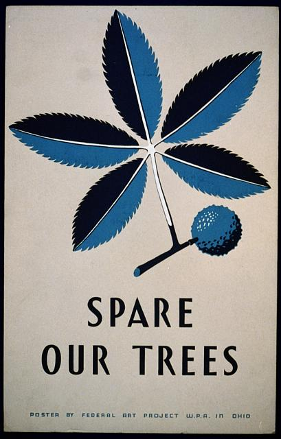Spare Our Trees Vintage Poster - Federal Art Project WPA Ohio, art, classic posters, federal art project, nature, retro prints, trees, vintage, vintage posters, wildlife, wpa,