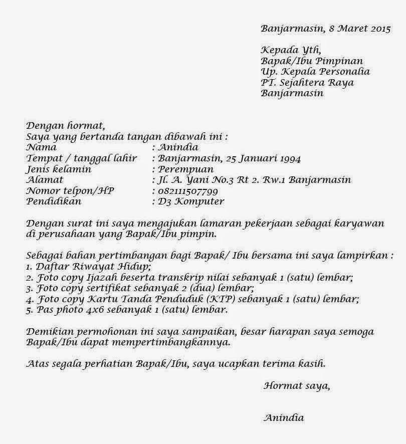 Contoh Cara Membuat Surat Lamaran Kerja