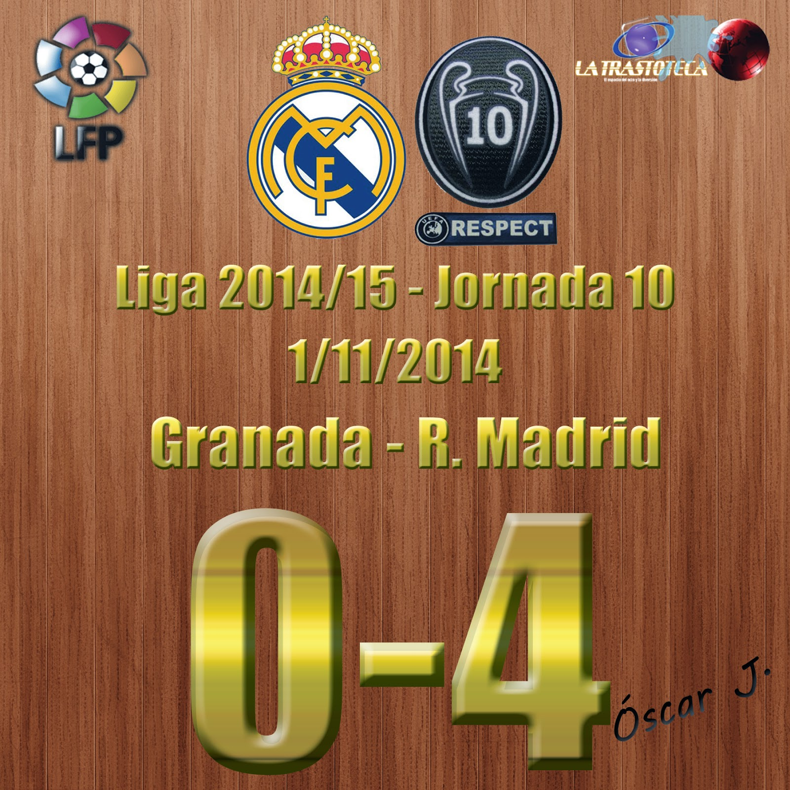 Granada 0-4 Real Madrid - Liga 2014/15 - (1/11/2014). El Real Madrid le pasa por encima al Granada.