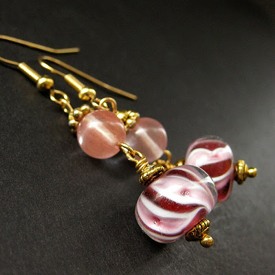 Raspberry Swirl Lampwork Earrings with Cherry Quartz