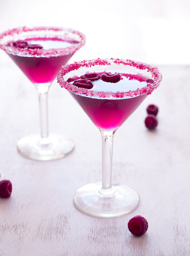 Pink Raspberry Cosmopolitan Cocktail by Pineapple and Coconut