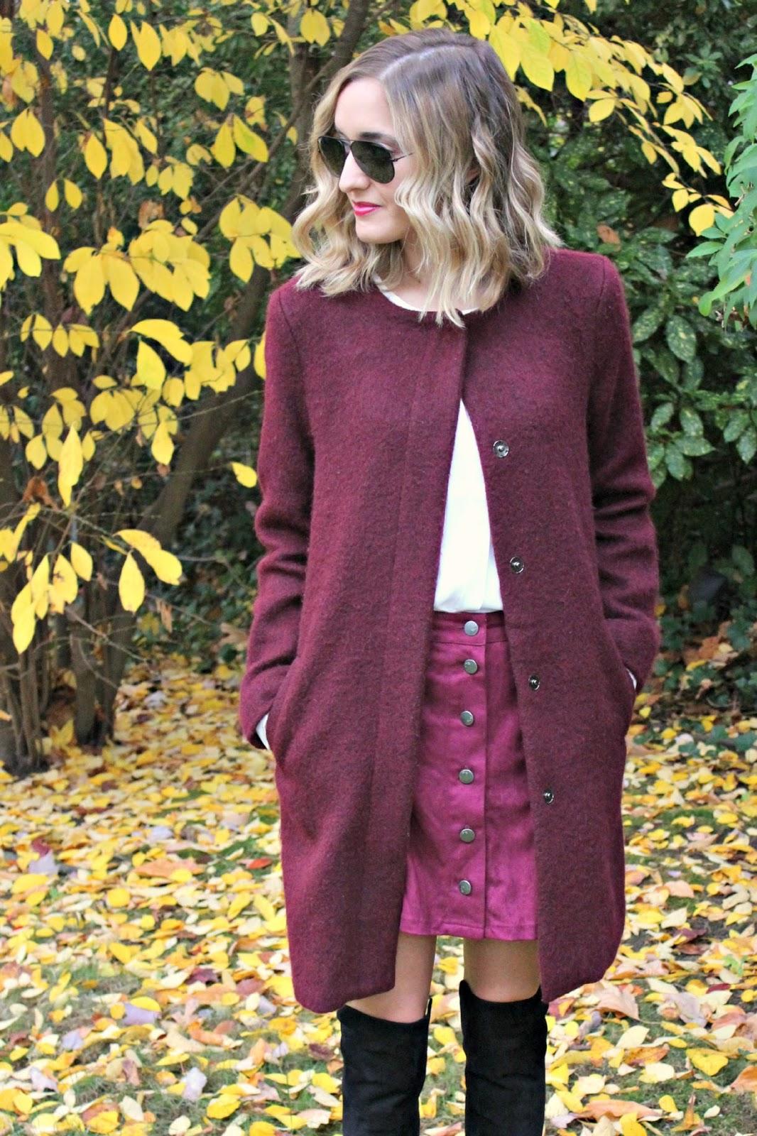 bb dakota burgundy coat