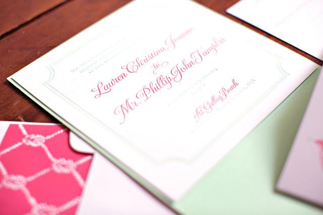 Nautical Letterpress Wedding Invitation