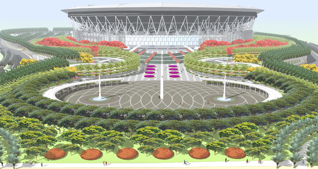 Philippine arena is fastly rising bang for Filipino landscape architects