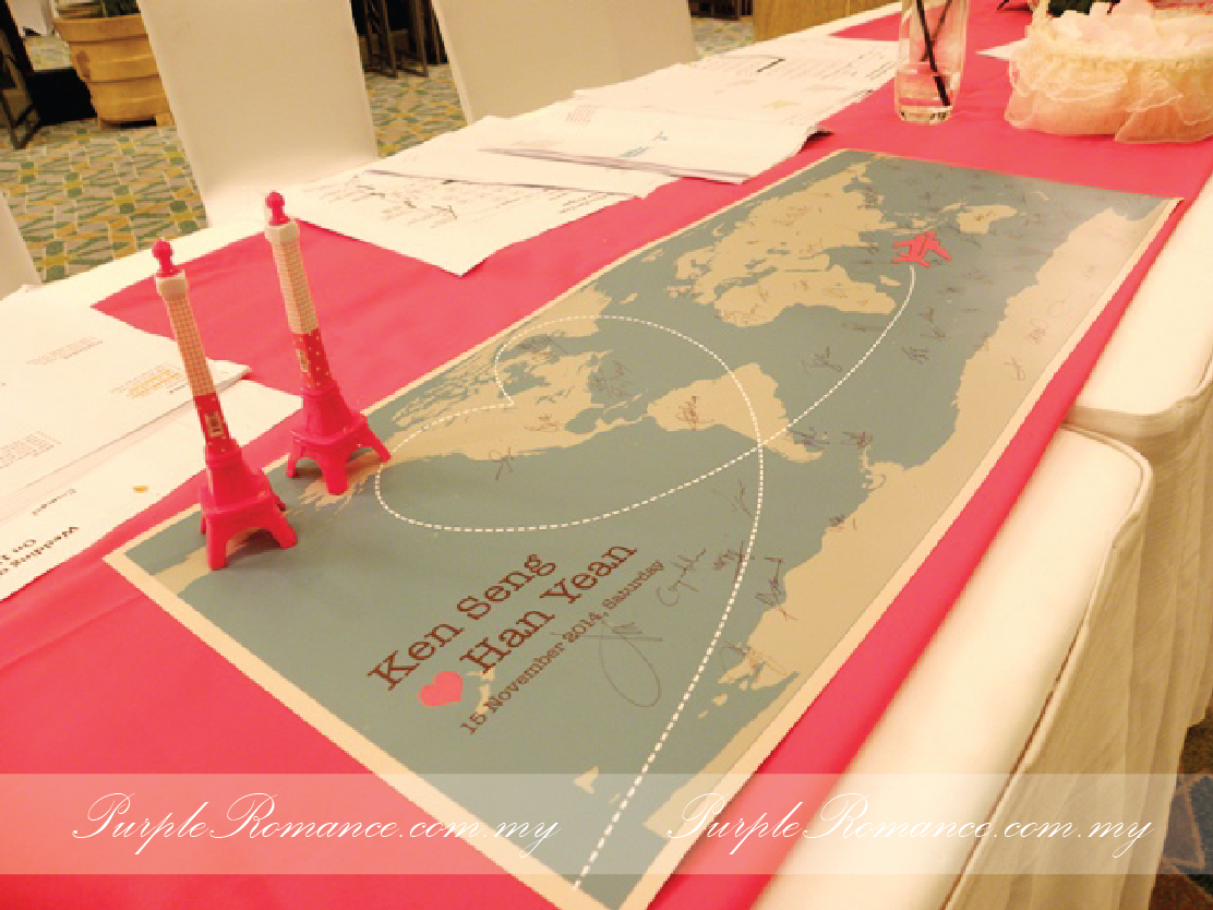 mandarin oriental hotel, kuala lumpur, malaysia, reception table decoration, wedding, travel theme, eiffel tower pens, guest book world map, wedding corsages, fresh flower, roses, pink and ivory, petals