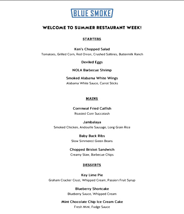 blue smoke restaurant week lunch south eats north - Blue Restaurant 2015