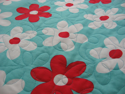 Red and Aqua Quilt ~ Finally Quilted!