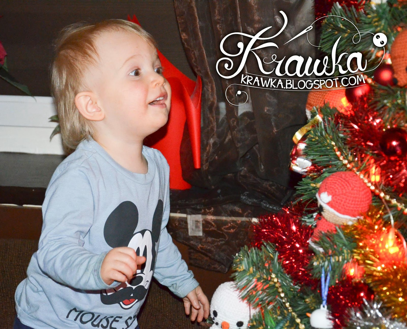 Krawka: The face of my son when we lit the lights on the tree :)