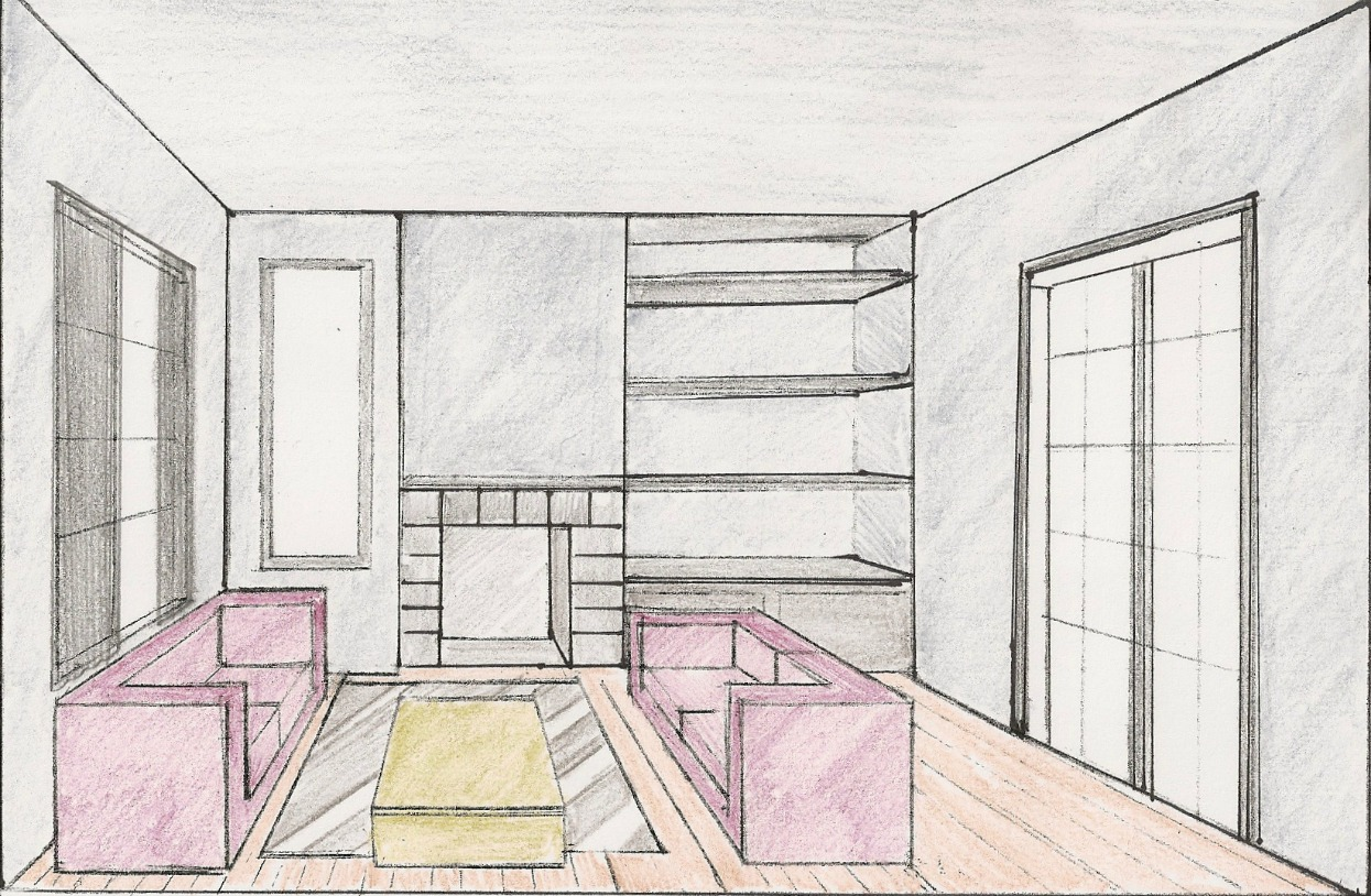 One point perspective living room drawing - One Point Perspective Bedroom Viewing Gallery For Bedroom Drawing One Point Perspective