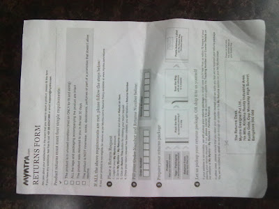 Myntra.com Returns Form paper return myntra