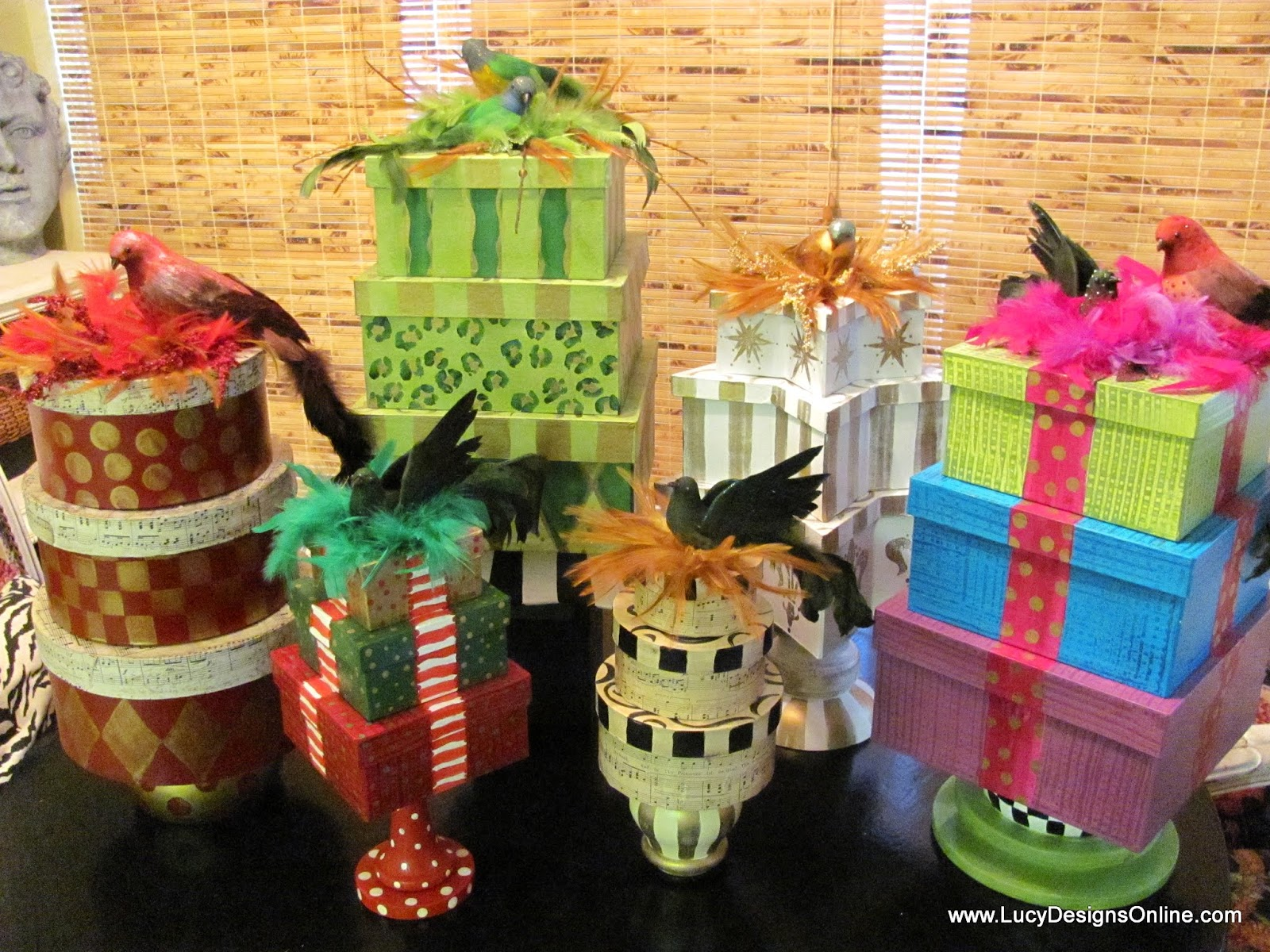 diy gift box Christmas topiaries