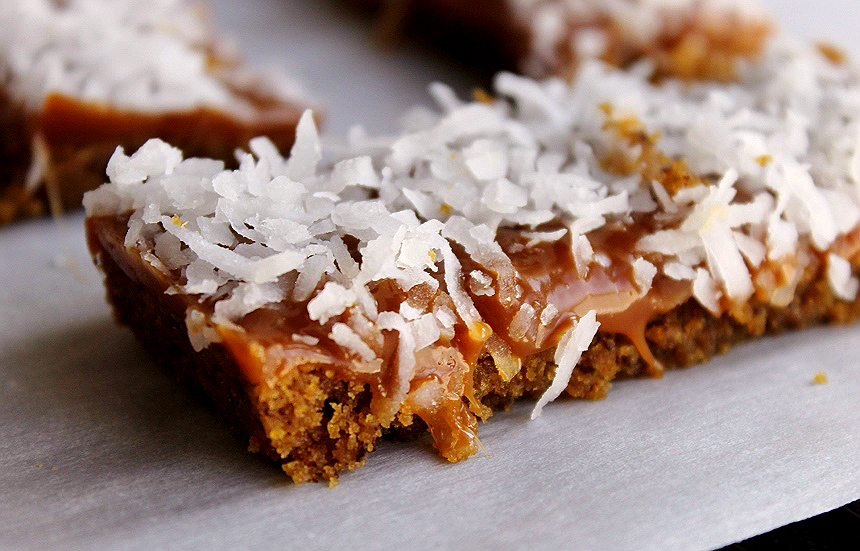 Caramel Cookie Coconut Candy Bars