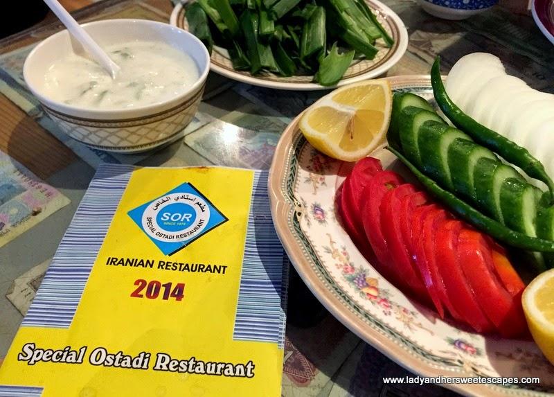 complimentary starters at Ostadi Restaurant in Dubai