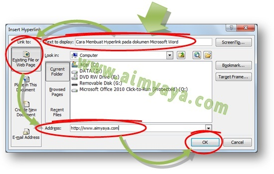 Gambar: Cara menyisipkan atau menambah sebuah hyperlink di dalam dokumen Microsoft Word menggunakan dialog Insert Hyperlink