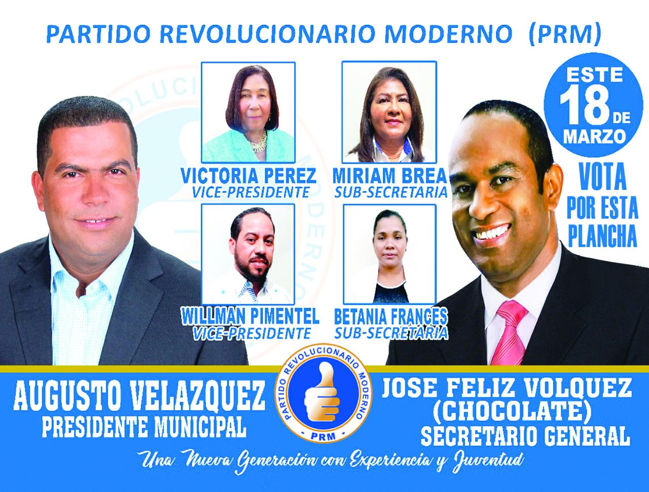 PUBLICIDAD--VOTA EL 18 DE MARZO PARA DIRIGIR EL COMITÉ MUNICIPAL. DEL P.R.M. EN PEDERNALES