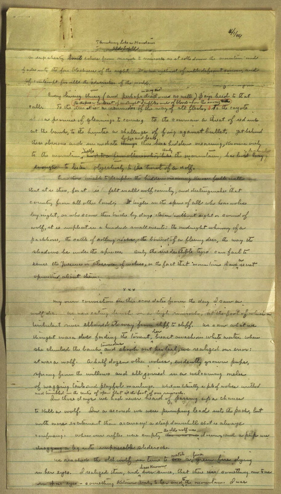 sample page from Aldo Leopold's manuscript draft of Sand County Almanac, Dept of Special Collections, Memorial Library, University of Wisconsin-Madison