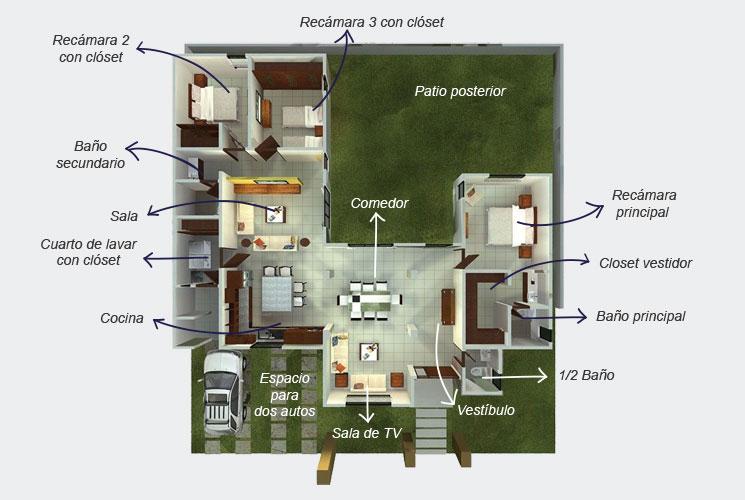 Puertas De Baño Mexicali:Planos de Casas y Plantas Arquitectónicas de Casas y Departamentos