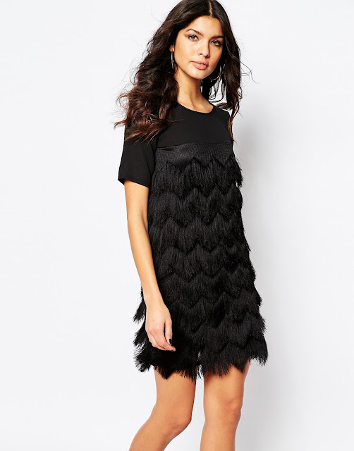 black fringe dress, river island black fringe dress, black tassel dress,