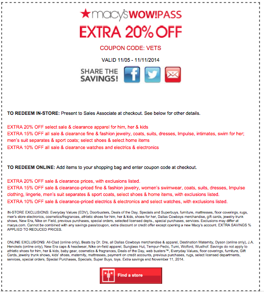 Macy's online discount coupon codes