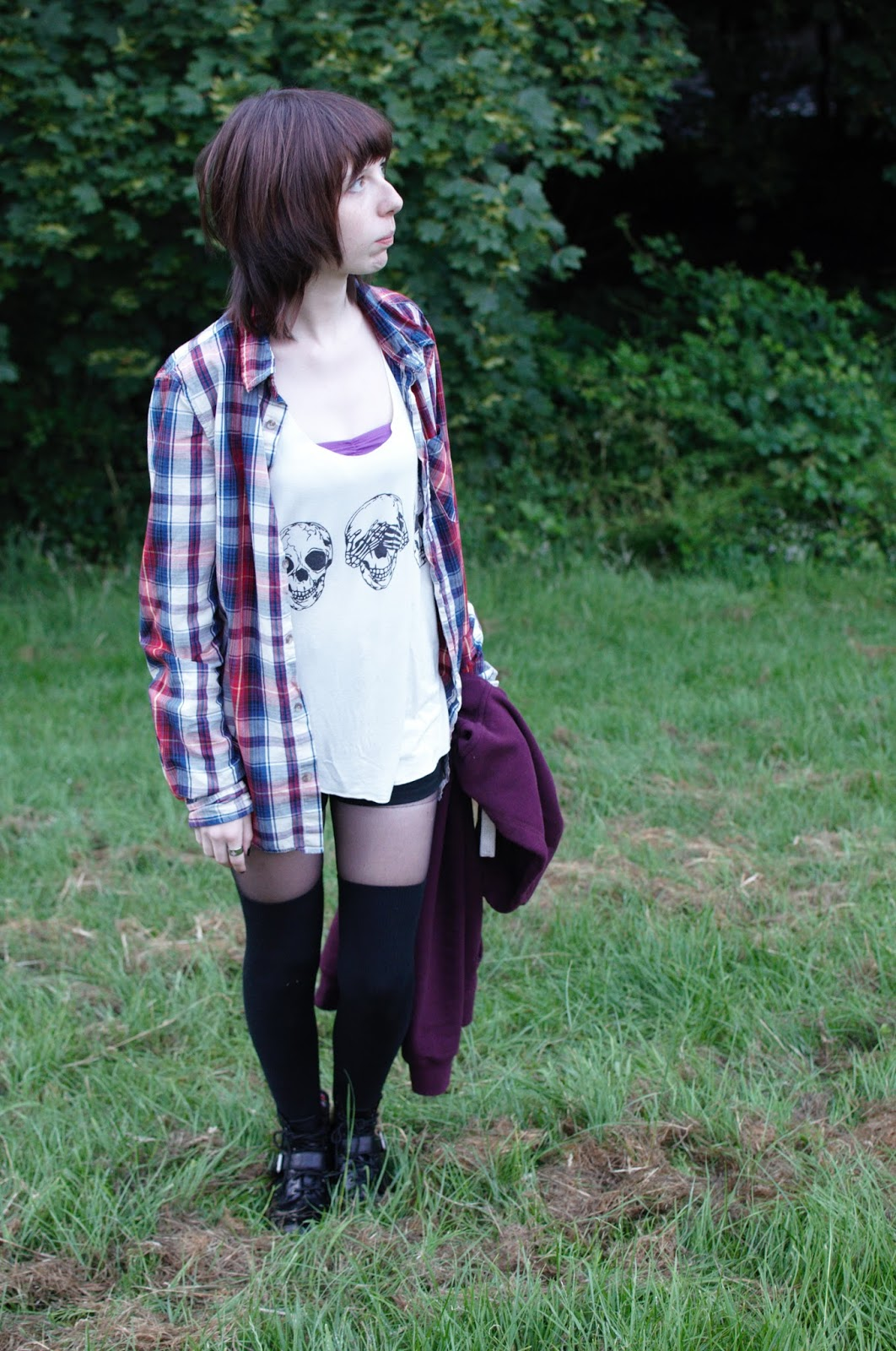Skulls, checked shirt, Knee High Socks OOTD WIWT GRUNGE OUTFIT