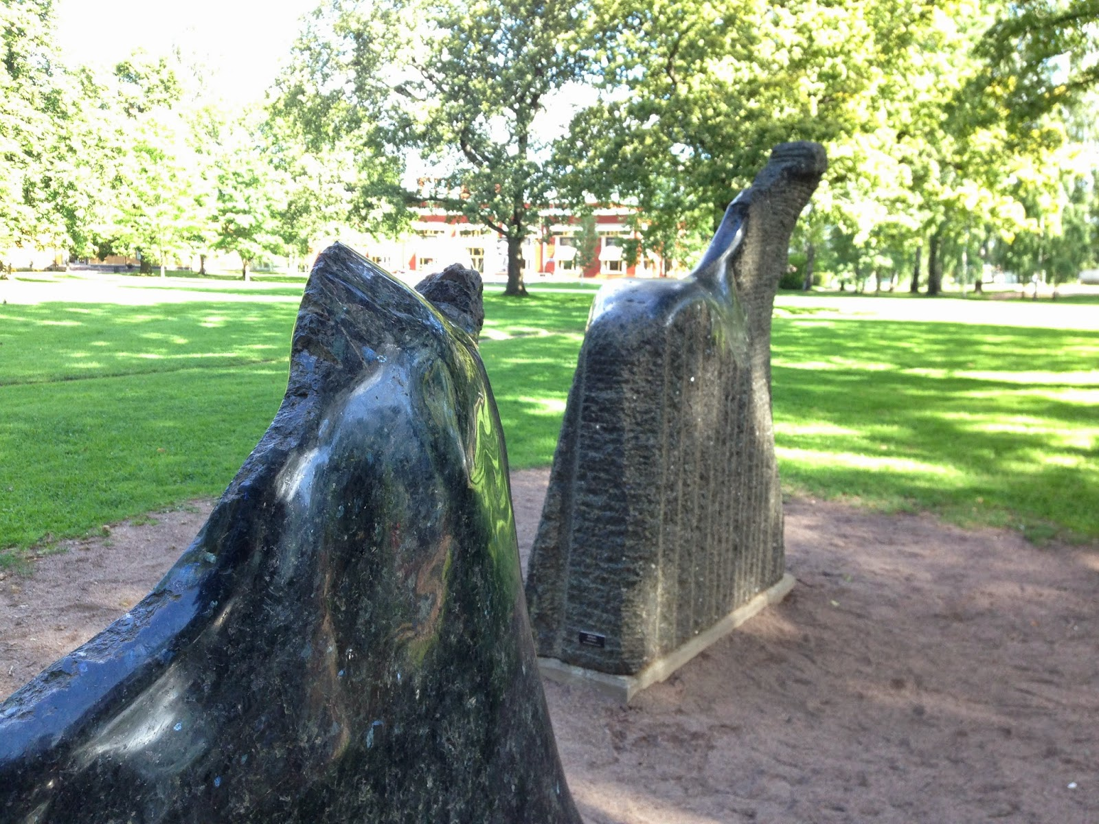 Horse sculptures in the park at Karlstad