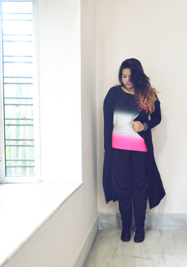 pink white black ombre top